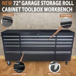 "72"" Garage Storage Roll Cabinet Toolbox Cabinet Workbench Chest Tool Box"