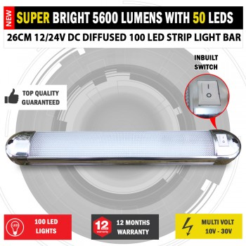 26cm 12/24V DC Diffused 100 LED Strip Light Bar Camping Caravan Boat Trailer