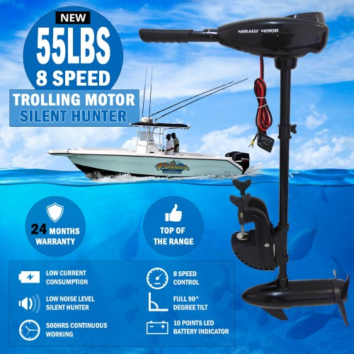 55lbs 8 speed trolling motor electric inflatable boat for Cheap saltwater trolling motor