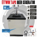 NEW Twin Taps Beer Kegerator Bar Fridge Refrigerator With Post Mix Keg Adaptors