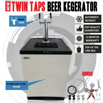 NEW Twin Taps Beer Kegerator Bar Fridge Refrigerator With Post Mix Keg Adaptors