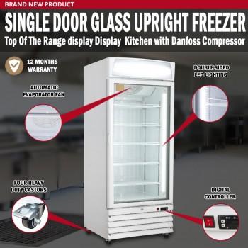 Single Door Glass Upright Freezer Display Kitchen Restaurant Danfoss Compressor