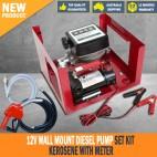 New 12V Wall Mount Diesel Pump Set Kit Kerosene With Meter
