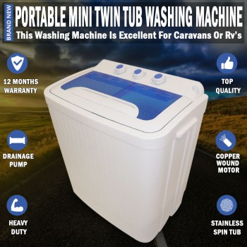 Portable 4KG Mini Washing Machine Twin Tub Dryer For Caravan Camping RV's