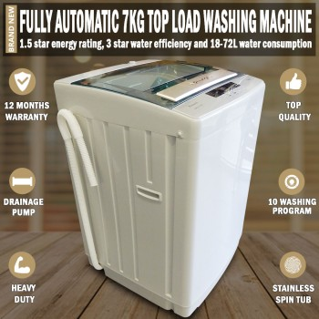 Fully Automatic 7kg Top Load Washing Machine White 1 Year Warranty Included