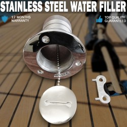 "Hose Deck Fill for Water 2"" Boat Filler Marine Grade 316 Stainless Steel"
