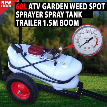 60L ATV Garden Weed Spot Sprayer Spray Tank Trailer Spray Cart,Trolley With Boom