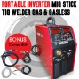 Portable Inverter Mig Stick Tig Welder Gas & Gasless