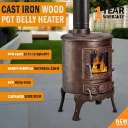 8KW Cast Iron Wood Pot Belly Heater Slow Combustion Heat Up To 12 Square