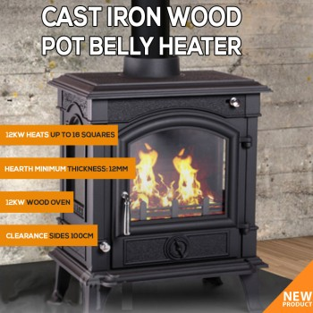 Cast Iron Wood Heater Pot Belly Heater Slow Combustion 12KW Heat Up To 16 Square