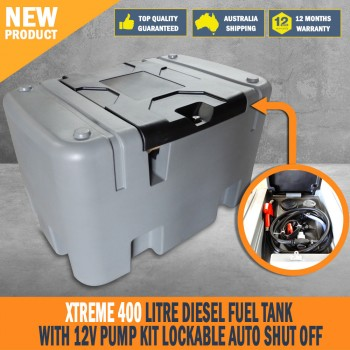 New Xtreme 400 Litre Diesel Fuel Tank With 12V Pump Kit Lockable Auto Shut Off